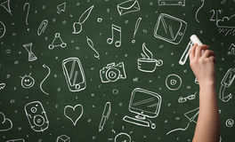 Ícones da escrita da mão no quadro-negro Imagem de Stock Royalty Free