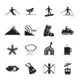 Ícones da estância de esqui ajustados Fotos de Stock Royalty Free