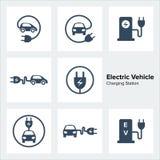 Ícones da estação de carregamento do veículo elétrico ajustados ilustração do vetor