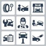 Ícones da estação do serviço do veículo do vetor Fotografia de Stock Royalty Free