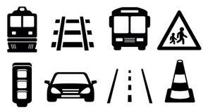 Ícones da estrada ajustados Imagens de Stock