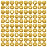 100 ícones da estrada ajustaram o ouro Fotos de Stock Royalty Free
