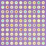 100 ícones da estratégia empresarial ajustados no estilo dos desenhos animados Imagem de Stock Royalty Free