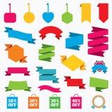 Ícones da etiqueta do saco da venda Símbolos do disconto Fotos de Stock Royalty Free