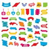 Ícones da etiqueta do saco da venda Símbolos do disconto Fotografia de Stock