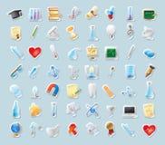 Ícones da etiqueta para a ciência e a instrução Imagem de Stock