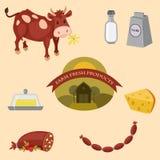 Ícones da exploração agrícola ajustados Fotos de Stock Royalty Free