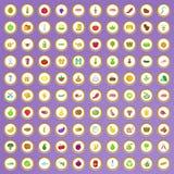 100 ícones da exploração agrícola ajustados no estilo dos desenhos animados Foto de Stock Royalty Free