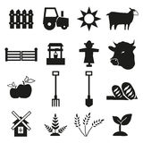 Ícones da exploração agrícola e da agricultura ajustados ilustração stock
