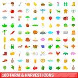 100 ícones da exploração agrícola e da colheita ajustaram-se, estilo dos desenhos animados Imagem de Stock