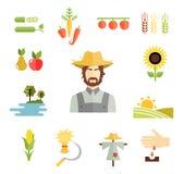 Ícones da exploração agrícola para cultivar colheitas ilustração royalty free