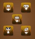 Ícones da expressão da coruja Imagem de Stock Royalty Free