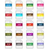Ícones da extensão de arquivo Imagens de Stock