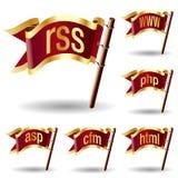 Ícones da extensão de arquivo do original do Internet Imagem de Stock Royalty Free