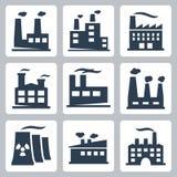 Ícones da fábrica do vetor ajustados Imagens de Stock Royalty Free