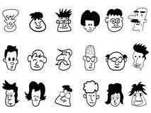 Ícones da face da multidão do Doodle ilustração royalty free