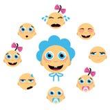 Ícones da face do bebê Imagens de Stock