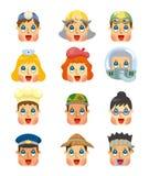 Ícones da face do trabalho dos povos dos desenhos animados ajustados Fotografia de Stock Royalty Free