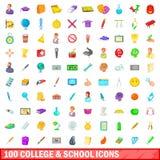 100 ícones da faculdade e da escola ajustaram-se, estilo dos desenhos animados Fotografia de Stock Royalty Free