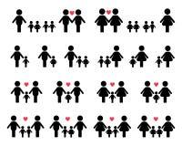 Ícones da família do gay e lesbiana ilustração stock