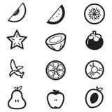 Ícones da fatia do cut& do fruto Imagens de Stock Royalty Free