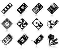 Ícones da ferragem de computador ilustração stock