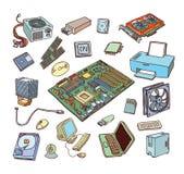 Ícones da ferragem de computador Componentes do PC ilustração royalty free