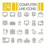 Ícones da ferragem de computador Os componentes e os dispositivos do PC diluem a linha vetor ilustração royalty free