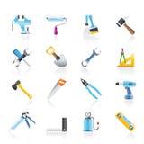 Ícones da ferramenta do edifício e das obras Foto de Stock Royalty Free