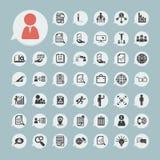 Ícones da finança ajustados 2 no papel azul Fotos de Stock Royalty Free