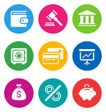 Ícones da finança da cor Fotografia de Stock
