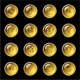 Ícones da finança da gota do ouro Imagem de Stock