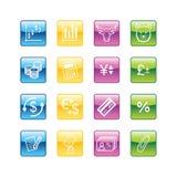 Ícones da finança do Aqua Fotografia de Stock