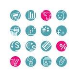 Ícones da finança do círculo Fotos de Stock Royalty Free