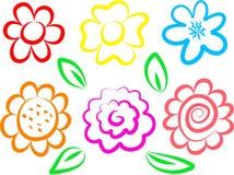 Ícones da flor Fotografia de Stock Royalty Free