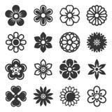 Ícones da flor ajustados no fundo branco Vetor Imagens de Stock