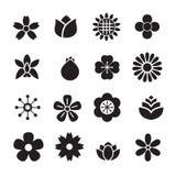 ícones da flor da silhueta Fotografia de Stock Royalty Free