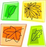 Ícones da folha da queda ilustração stock