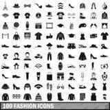 100 ícones da forma ajustados no estilo simples ilustração stock