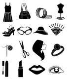 Ícones da forma das senhoras ajustados Fotografia de Stock
