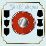Ícones da forma do protetor ajustados Sinais pretos da etiqueta, isolados no fundo branco Símbolo da proteção, braços, segurança, ilustração do vetor