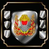 Ícones da forma do protetor ajustados Sinais pretos da etiqueta, isolados no fundo branco Símbolo da proteção, braços, segurança, ilustração stock