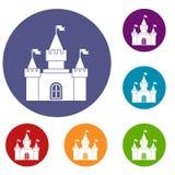 Ícones da fortaleza ajustados Foto de Stock Royalty Free