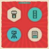 Ícones da fotografia ajustados Fotografia de Stock Royalty Free