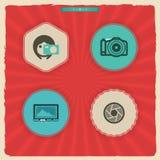 Ícones da fotografia ajustados Fotografia de Stock