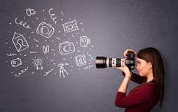 Ícones da fotografia do tiro da menina do fotógrafo Fotografia de Stock Royalty Free