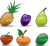 Ícones da fruta básicos Fotos de Stock Royalty Free