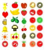Ícones do fruto do verão de Pixelated ilustração stock