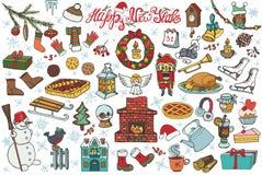 Ícones da garatuja da estação do ano novo, símbolos colorido ilustração royalty free