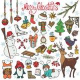 Ícones da garatuja da estação do Natal, animais colorido ilustração royalty free